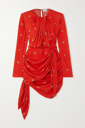 Magda Butrym San Remo Draped Floral-print Silk-blend Mini Dress - Red