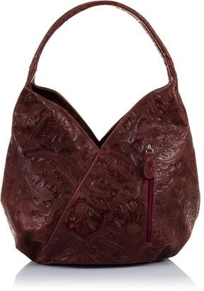 FIRENZE ARTEGIANI Genuine Leather Woman Bag Flowers Engraved. Shoulder Bag. Woman Boho Bag Made in Italy.Genuine Italian Leather 30x23 5x13 cm. Colour: Garnet