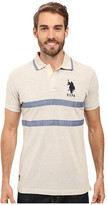 U.S. Polo Assn. Quilted Pique and Chambray Striped Polo Shirt