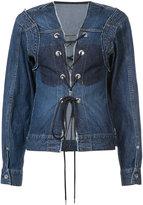 Sacai lace up denim jacket - women - Cotton - 2