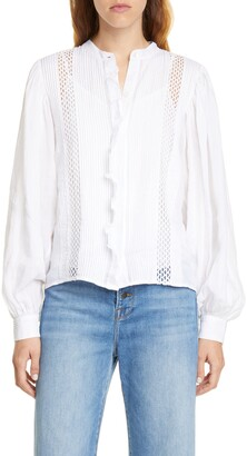 Frame Lace Inset Ruffle Placket Blouse