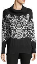 Neiman Marcus Cowl-Knit Intarsia Sweater