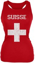 World Cup Distressed Flag Suisse Juniors Soft Tank Top