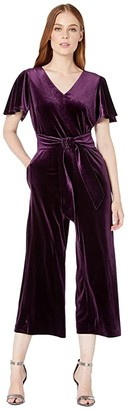 Tahari ASL Flutter Sleeve Velvet Jumpsuit with V-Neckline and Tie Front (French Plum) Women's Jumpsuit & Rompers One Piece