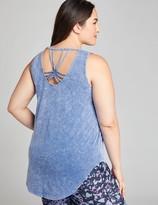 Democracy Womens Mineral Wash Dye Cut Knit Top with Sharkbite Hem
