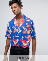 Reclaimed Vintage Inspired X Romeo & Juliet Reg Fit Revere Shirt In Blue