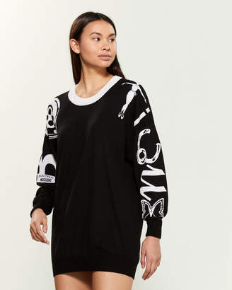 Moschino Long Sleeve Wool-Blend Mini Sweater Dress