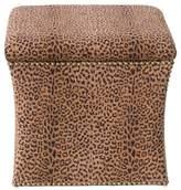 Skyline Furniture Clarissa Nail Button Storage Ottoman - Cheetah Earth