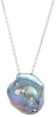 Samira 13 18K White Gold, 22MM Ink Baroque Pearl & Diamond Galaxy Pendant Necklace