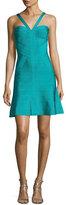 Herve Leger Cross-Front Fit & Flare Bandage Dress, Turquoise