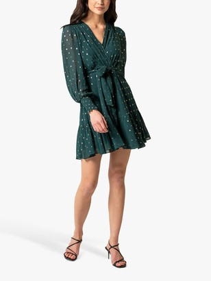 Forever New Sloane Metallic Spot Skater Dress, Dark Green