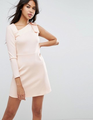 Asos Design Mini Scuba Dress with One Sleeve and Bow Shoulder Detail-Pink