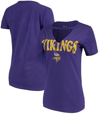 New Era Women's Purple Minnesota Vikings Baby Jersey V-Neck Choker T-Shirt