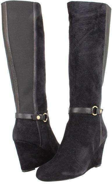Jones New York Dalby (Black Suede/Elastic) - Footwear