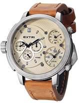 Extri F. Men's Quartz Watch with Black Dial Analogue Display Quartz Leather X3002 °C