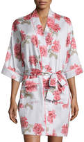 BedHead Rose-Print Short Kimono Robe, Light Blue