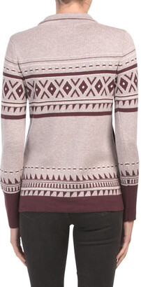 Fair Isle Mock Neck Cardigan