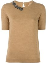 No.21 embellished neck knitted T-shirt