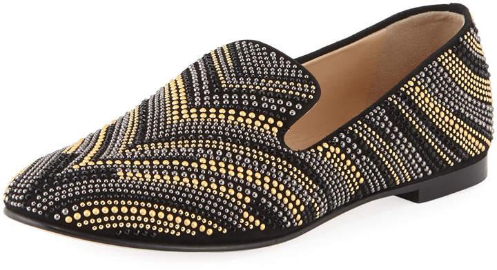 Giuseppe Zanotti Chevron-Beaded Flat Loafer