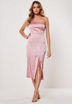 Missguided Pink Satin One Shoulder Midi Slip Dress