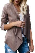 iBaste Womens Faux Suede Casual Trench Coat Long Sleeve Cardigan Tops Open Front Jacket
