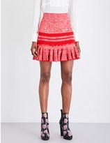Alexander McQueen Peplum chine-knit tweed mini skirt