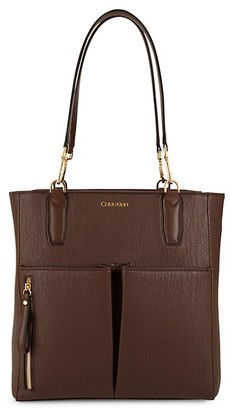 Calvin Klein Top Zip Faux Leather Tote