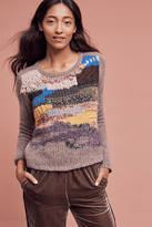 Handknit By Dollie Fringed Collage Pullover