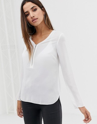 Lipsy zip front shirt-White