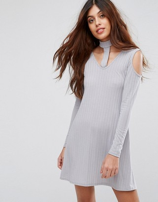 Be Jealous Ribbed Swing Dress With Tie Neck-Silver
