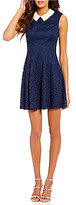 Betsey Johnson Pearl Collar Cap Sleeve Lace Fit-and-Flare Dress