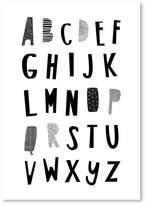 Americanflat Black ABC Print Art, Print Only