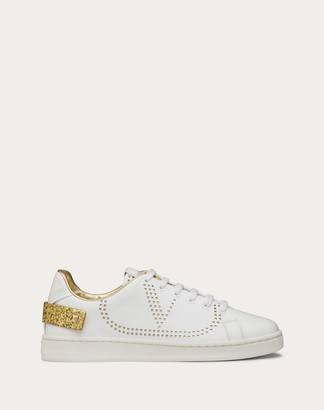 Valentino Backnet Calfskin Sneaker Women White/gold 100% Pelle Di Vitello - Bos Taurus 37