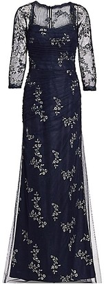 Teri Jon by Rickie Freeman Mesh Long-Sleeve Embroidered Floral Gown