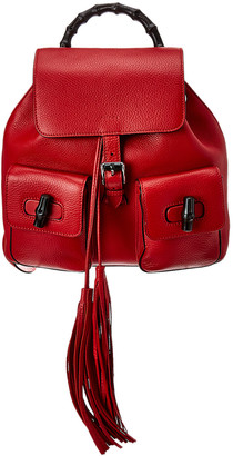 Gucci Red Leather Bamboo Backpack
