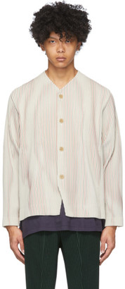Homme Plissé Issey Miyake Off-White and Red Striped Tailored Line Jacket