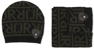 John Richmond Junior TEEN intarsia-knit hat and scarf set