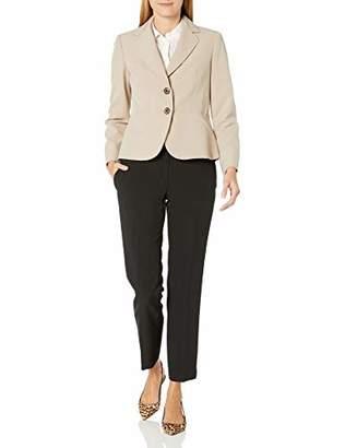 Le Suit Women's 2 Button Notch Collar Crepe Slim Pant Suit