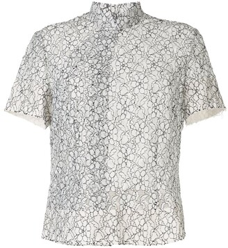 Comme des Garcons Floral Lace Embroidered Sheer Shirt