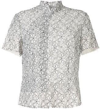 Comme des Garçons Comme des Garçons Floral Lace Embroidered Sheer Shirt