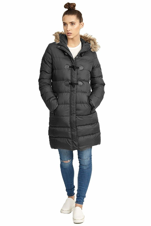 Thumbnail for your product : Brave Soul Womens 'Wizard' Long Line Padded Coat   Black   10
