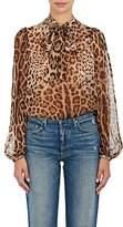 Dolce & Gabbana Women's Leopard-Print Silk Tieneck Blouse