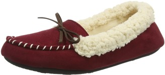 Dearfoams Womens Microsuede Moc with Quilted Tab and Memory Foam Low-Top Slippers