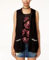 Self Esteem Juniors' Printed Tank Top, Hooded Vest & Necklace