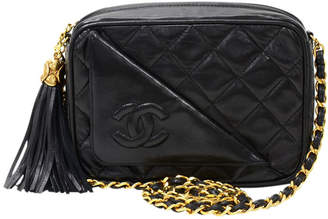 Chanel Black Quilted Leather Tassel Shoulder Bag