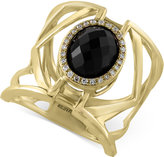 Effy Eclipse by Onyx (3 ct. t.w.) and Diamond (1/10 ct. t.w.) Openwork Geometric Statement Ring in 14k Gold