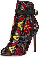 Valentino Garavani Embroidered Fishnet High Boot, Multi