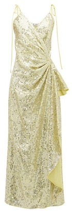 ATTICO The Gathered Sequinned Wrap Dress - Womens - Light Gold