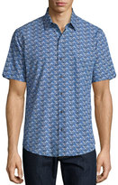 Zachary Prell Furniss Palm-Print Short-Sleeve Sport Shirt, Navy