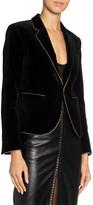 Saint Laurent Golden-Trim Velvet Fitted Blazer